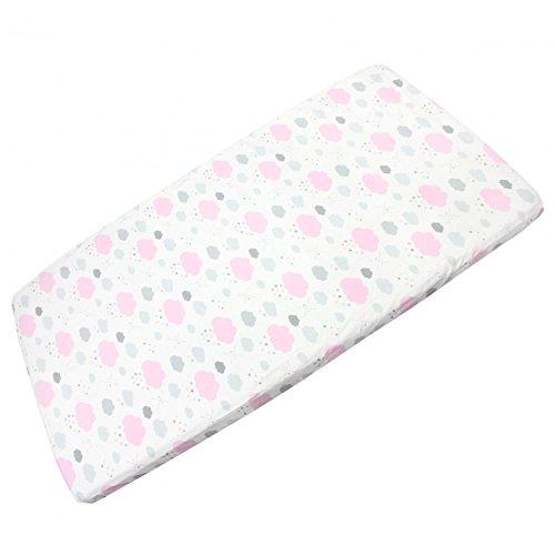 TupTam Baby Spannbettlaken mit Gummizug Gemustert, Farbe: Wolken Rosa / Weiß, Größe: 70 x 140 cm
