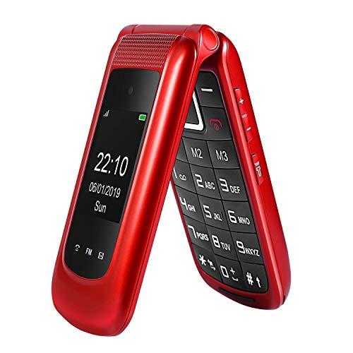 gsm Teléfono Móvil Simple para Ancianos con Teclas Grandes,SOS Botones,ácil de Usar telefonos basicos para Mayores (Rojo)