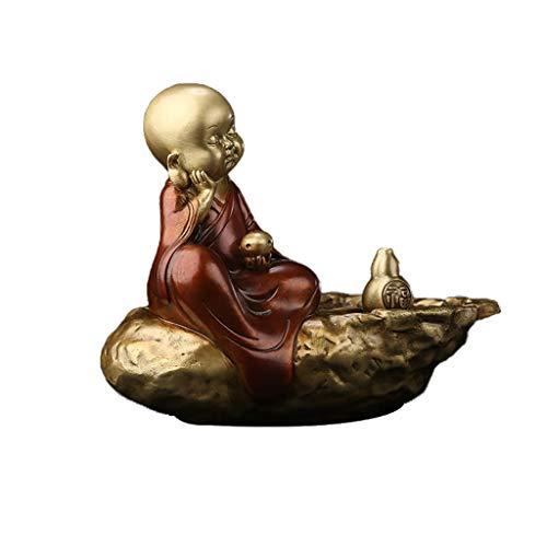 WYH Adornos Durmiendo Little Monk Sculpture Brass Incienso Incienso Decoración del Titular de Incienso para la meditación Yoga Inicio Oficina Fragancia Aromaterapia