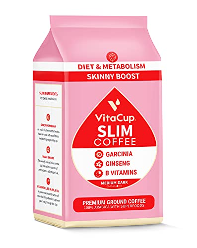 VitaCup Slim Ground Coffee, Boosts Metabolism & Skinny Diet, 11 oz Bag, Medium Roast, With B Vitamins, Ginseng & Garcinia Cambogia, Bold & Smooth Coffee Grounds for Drip Coffee Brewers, French Press