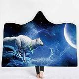 Soft Hoodie Blanket Adult Men Women, Three Dimensional Thicken Wearable Hooded Animal Blankets, Mystical Wolf Pattern, Soft Cozy Fleece Blanket (Pattern 2,150x130cm)