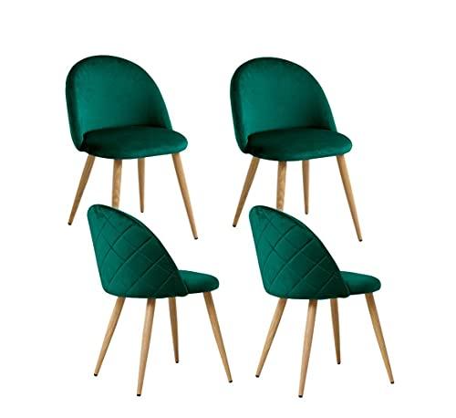 KJ Esszimmer Samt Stuhl 4er Set, Küchenstühle mit Rückenlehne aus Samt, Metallbeine, Schlafzimmer Stoffstuhl, Samtstuhl für Wohnzimmer (vert, 4pc)