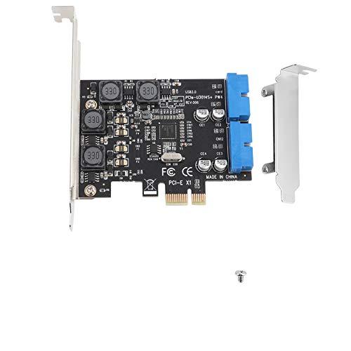 Tosuny PCI-E zu USB 3.0 2-Port Express Karte, Low Profile PCI-Express zu internem 2 Port 19Pin Header USB 3.0 Kartenadapter