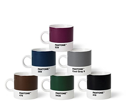 Pantone Espressotassen-Set, Porzellan, Naturfarben, 6.1 x 6.1 x 8.2 cm