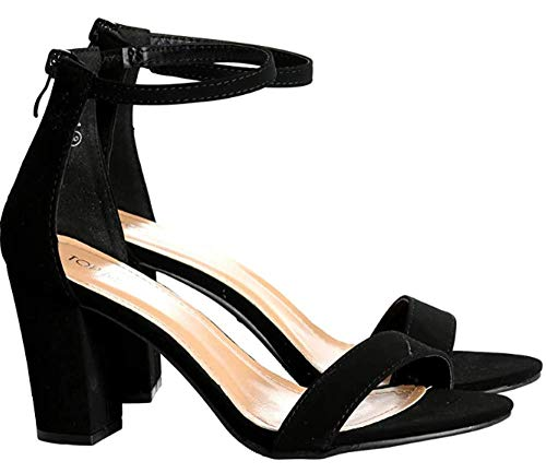 Over the Toe Strap Ankle Wrap Strap Heel Open Toe Medium Heel, Black, 6