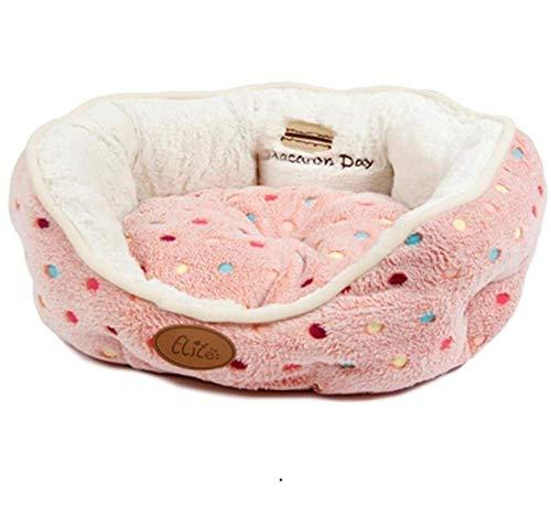 KongEU Deluxe Qualität Hundebett mit Wendekissen Abnehmbar Waschbar, Hundesofa-Katzenbett-Katzenkissen,Hundekorb Hundekissen für kleine,mittlerehunde-45 * 40CM-Rosa