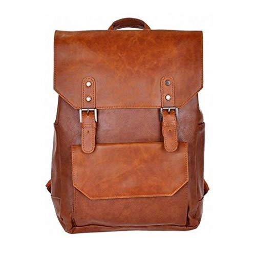 Pelle di viaggio zaino di cuoio alla moda Zaino in pelle con borchie grande capacità Zaino casuale for Work,School,Man (Color : Brown, Size : S)