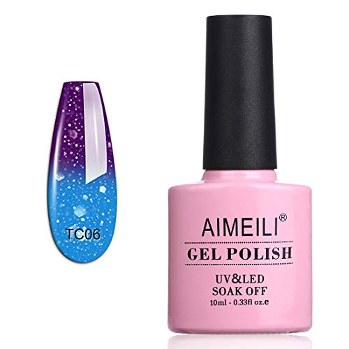 AIMEILI Soak Off UV LED Temperature Color Changing Chameleon Gel Nail Polish - Glitter Purple to Glitter Blue Full Shimmer/Diamond (TC06) 10ml