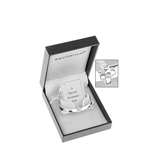 Equilibrium Silver Plated Christening or New Baby Bangle (6780)