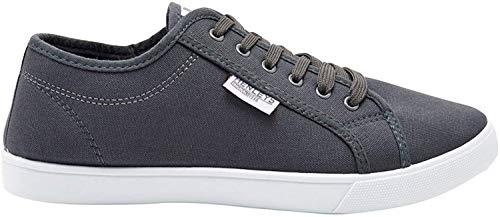 Henleys Hommes Kenyon Chaussures en Toile Créateur Lacet Chaussures Plates Baskets Style Décontracté (Taille - UK 6 - EU 40, Connor - Gris Charbon)