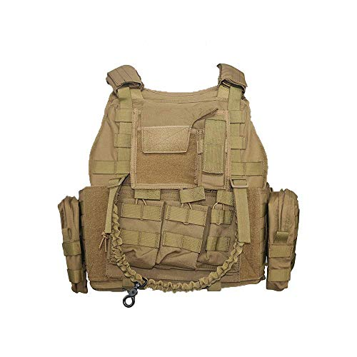 Greencity Tactical Military Vest Assault Vest Molle Vest for CS War Game ,Outdoor Hunting, Combat Training, Army Fans, Survival Game for Men Women(TAN)