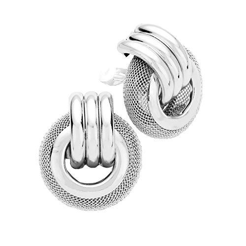 Schmuckanthony Hoernel. Orecchini a clip grandi con nodo in argento liscio con motivo a rete, 4 cm di lunghezza