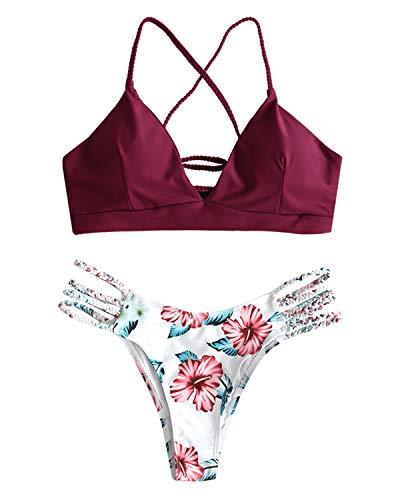 ZAFUL Damen Gepolsterter Bikini Set Bademode Badeanzug mit Blumenmuster Schnürung Zweiteilig WeinrotLarge