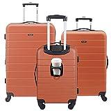 Wrangler Smart Luggage Set with Cup Holder and USB Port, Burnt Orange, 3 Piece