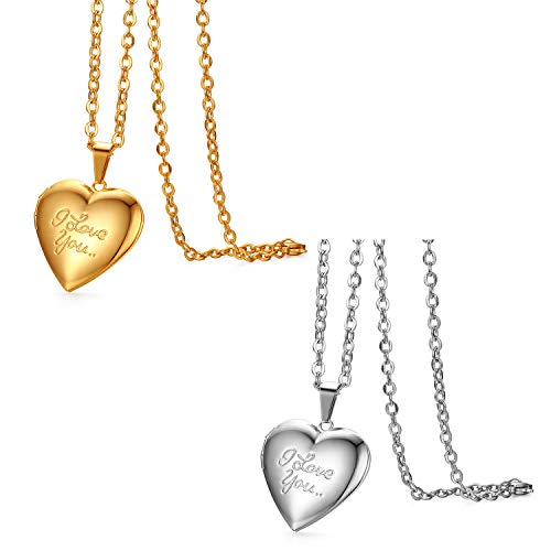 JewelryWe Schmuck 2pcs Edelstahl Foto Medaillon zum Öffnen Photo Bilder Amulett Silber/Gold Love You Herzanhänger Halskette Kette mit Anhänger für Damen Mädchen - Kostenlose Gravur