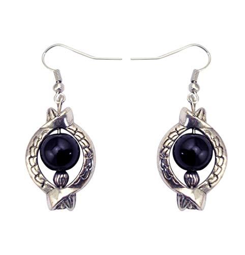 Pendientes de perlas plateadas estilo vintage turquesafashion-negro