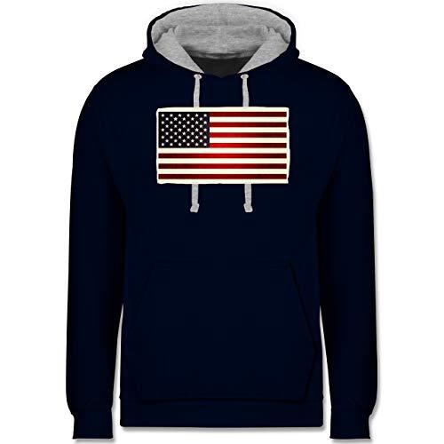 Shirtracer Kontinente - Flagge USA - M - Navy Blau/Grau meliert - usa Hoodie - JH003 - Hoodie zweifarbig und Kapuzenpullover für Herren und Damen