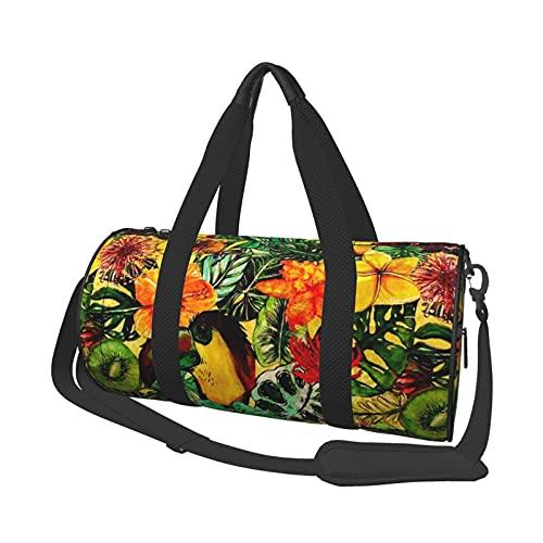 Bolsa de viaje tropical vintage exótica de flores de la selva floral con patrón de acuarela, para deportes, gimnasios y escapada de fin de semana
