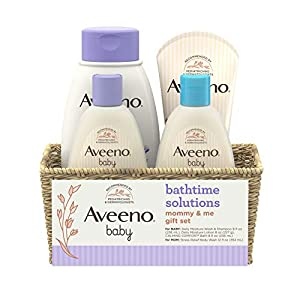 4-piece Aveeno Baby Daily Bathtime Solutions Gift Set is a collection of baby bath essentials in a convenient, reusable wicker basket that includes everything you need for bath time with your little one, plus a bonus for mom Includes an 8 fl. oz. bot...