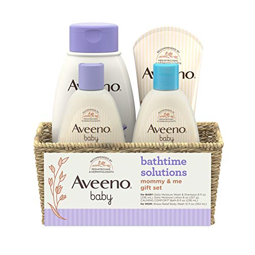 Aveeno Baby Daily Bathtime Solutions Gift Set to Nourish Skin for Baby and Mom  4 Items