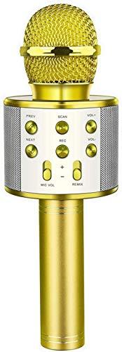 Sain hud Sain Hud Karaoke Mikrofon, Kindermikrofon, Bluetooth USB Mikrofon mit Lautsprecher, Kinder-Geschenke für Kinder-Gold