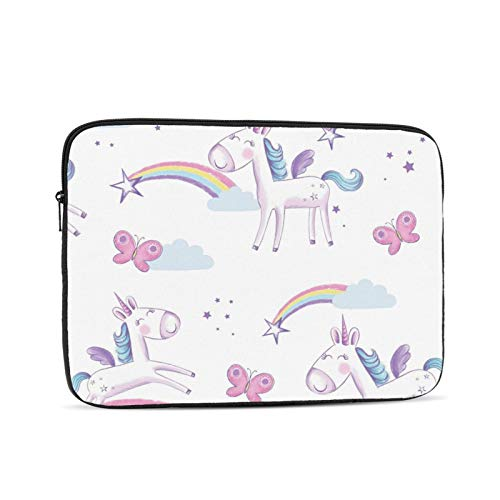 Happy Cute Unicorn Laptop Sleeve 15 inch, Shock Resistant Notebook Briefcase, Computer Protective Bag, Tablet Carrying Case for MacBook Pro/MacBook Air/Asus/Dell/Lenovo/Hp/Samsung/Sony