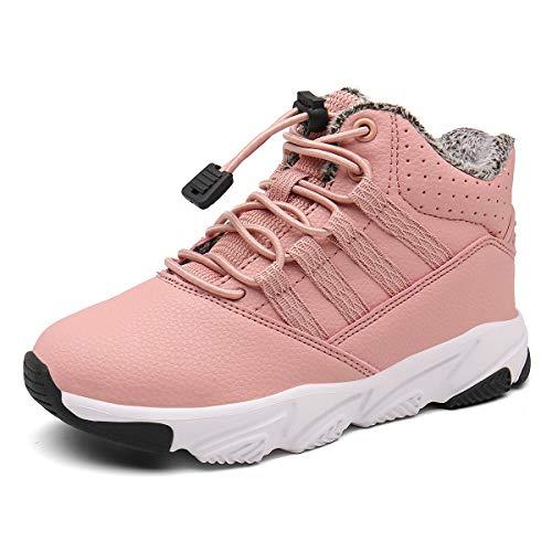 Kinderstiefel Jungen Mädchen Winterschuhe Warm Gefüttert Sneaker rutschfeste Stiefel Leichte Wanderstiefel Pink EU36=CN37