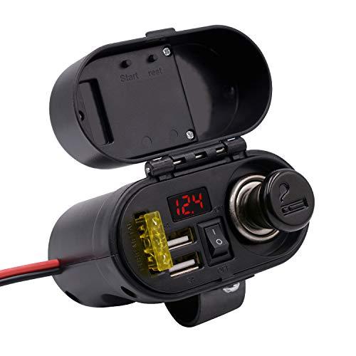 Kriogor 3A/5V 2 Ports USB Steckdose+ Zigarettenanzünder+ 20A Sicherungshalter+ Spannung Voltmeter + EIN/Ausschalter für 12V Motorrad ATV