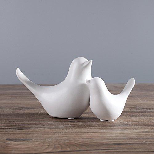 FUMING 2 moderne, minimalistische Keramik-Vogel-Ornamente im skandinavischen Stil, Dekoration für Zuhause, Handwerk, Figuren, Keramikvögel, Hochzeitsgeschenke (weiß)