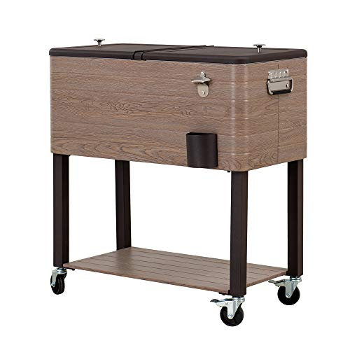Sunjoy A601002201 Gateway Collection 80 Quart Rolling Ice Chest Portable Patio Party Drink Cooler Cart, Brown