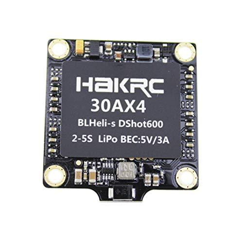MXECO 30A 4-EN-1 BLHELI_S ESC Mini F3 F4 Tablero Controlador de Vuelo Barómetro Incorporado OSD 20x20mm Soporte sin escobillas 4S para FPV Drone (Negro)