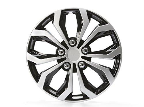 Cartrend 75567 Daytona Universal Radzierblenden in Schwarz/Silber, für 14 Zoll Räder,4 Radkappen aus robustem Kunststoff
