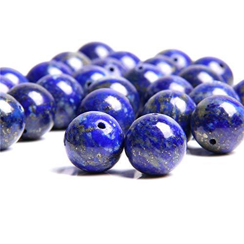 Pulsera de piedra con cuentas de piedra natural, cuentas redondas de lapislázuli azuli, unisex, accesorios para yoga, bricolaje, joyería, collar 4, 6, 8, 10 mm, 12 mm, lapislázuli