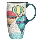 TZSSP Coffee Ceramic Mug Porcelain Latte Tea Cup With Lid 17oz. Balloon