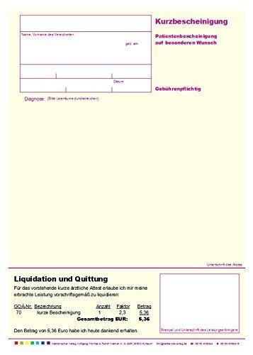 Wolfgang Thomas & Rudolf Wähner M.A. GbR Kurzbescheinigung, gelb, DIN A5, Einzelblätter, 100 Stück