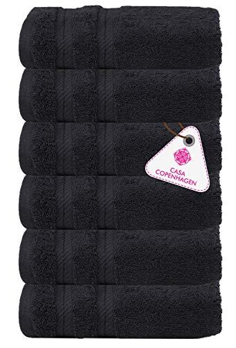CASA COPENHAGEN Bella Egipcio algodón 600g/m², Toallas de Mano y servilleta (Negro Oscuro) 6 Piezas