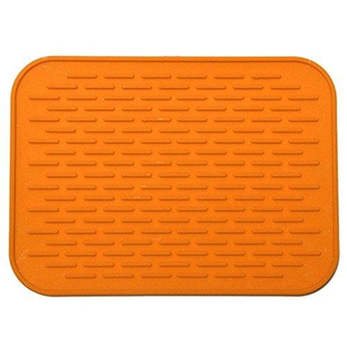 Sukisuki Alfombrilla de silicona para aislamiento térmico antideslizante y flexible para platos calientes para utensilios de cocina, tamaño 21 cm x 15 cm (naranja)