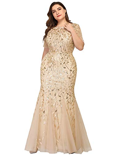 Women's Long Wedding Prom Dresses Evening Party Evening Gown Plus Size Gold US24