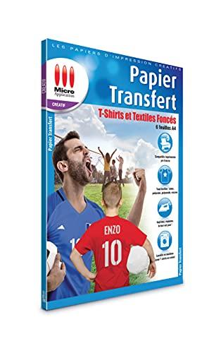 Papier Transfert pour Textile - Pochette 6 Feuilles A4 Papier Transfert pour T-shirts, Textiles Noirs et Couleurs, Papier Sulfurisé Incluse, Compatible Imprimantes Jet d Encre - Micro Application