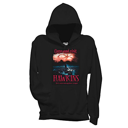 MUSH Felpa Stranger Things 2 - Come And Visit Hawkins - Film by Dress Your Style - Bambino-S-Nera