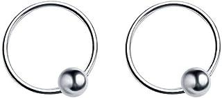 Dtja 20G Sterling Silver Ball Bead Sleeper Tiny Small Hoop Earrings for Women Girls Men Tragus Cartilage Nose Rings Septum...