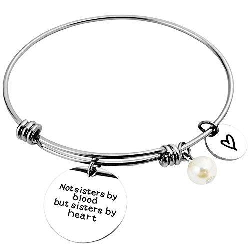ALoveSoul Best Friend Bracelet - Not Sisters by Blood But Sisters by Heart Friendship Bracelets Gifts Sister Bracelets Jewelry
