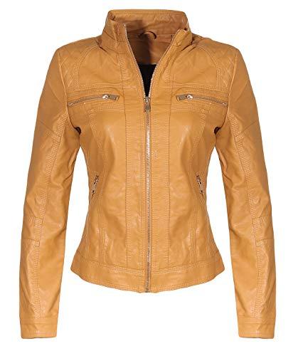 Malito Damen Jacke | Kunstleder Jacke | lässige Biker Jacke | Jacke mit Stehkragen | Faux Leather 5193 (Camel, M)