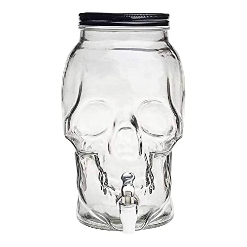 Tarro dispensador de cristal calavera con grifo 4 litros. Bote dispensador, botella con grifo, garrafa, jarra de cristal con grifo 26 x 16 cm