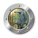 "3D Porthole Round Window View 3D Animals Wall Decals Funny Stickers Woodland Ancient Dinosaurs Suchomimus Home Decor Vinyl Sticker for Nursery,Kids Room,Bathroom,Fridge (17.7"" Diameter)"
