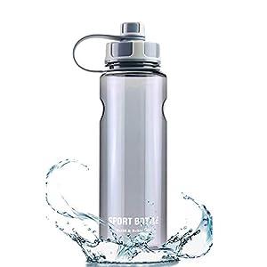 Botellas para Agua Deporte 1,5L Contiene Filtro, No Tóxico Reutilizables Plastico Botellas para Agua a Prueba de Fugas para Sport, Gimnasio, Trekking, Bicicleta, Yoga