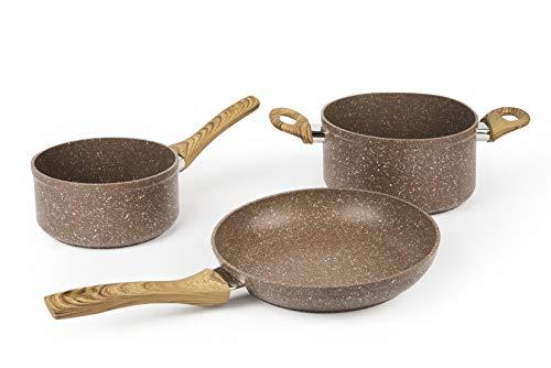Excelsa Wood & Stone Set poêle et 2 casseroles, aluminium forgé avec revêtement antiadhésif