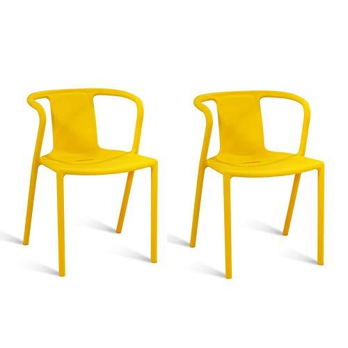 YANGFH Moderne Esszimmerstuhl aus Kunststoff Home Sessel Küche Lounge Candy Color Pack 2 Stück Set Stuhl (Color : Yellow)