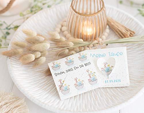 Gastgeschenk zur Taufe Personalisiert inkl. Blumensamen Arche Noah - Geschenke für Taufgäste