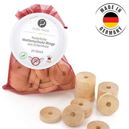Pure Made Bio Mottenschutz für Kleiderschrank aus Zirbenholz (20 Stück) - Qualität Made in Germany - bewährte Mottenfalle gegen Kleidermotten - 100% natürlich